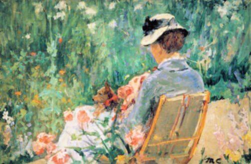 Impressionismo arte - Lidia no jardim